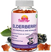 Elderberry Gummies Enhanced with Vitamin C, Propolis, Echinacea for Kids and Adults. No Gelatin - Kosher and Halal. Raspbe...