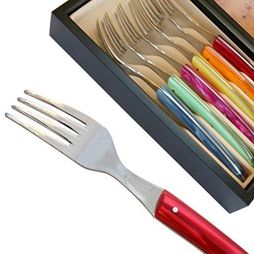 Set 6 Fourchettes Thiers manches de couleurs assorties