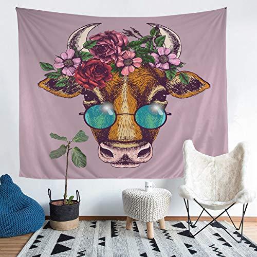 Tapiz para colgar en la pared con estampado floral de rosas para niños y niñas, 3D, diseño de animales salvajes, arte de pared para dormitorio, sala de estar, 152 x 228 cm