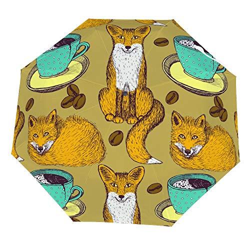 SARA NELL Folding Umbrella Foxes And Coffee Cute Animal Umbrella