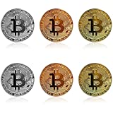 6Pcs Bitcoin - Gold Silver Bronze Physical Bit Coin Blockchain Cryptocurrency Commemorative Tokens   Chase Coin   BTC Collector   Business Gift April Fools' Day