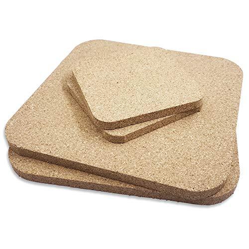 Set di sottobicchieri in sughero quadrato da 4 pezzi, tappetino in sughero assorbente marrone Sonku per pentole Pentole Bollitori Tazze Bicchieri Piante Artigianato fai da te e uso in cucina