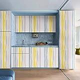 Papel pintado autoadhesivo extraíble película de vinilo decorativo moderno diseño de rayas para pared, 45 x 118 cm, para dormitorio, sala de estar, muebles reacondicionados