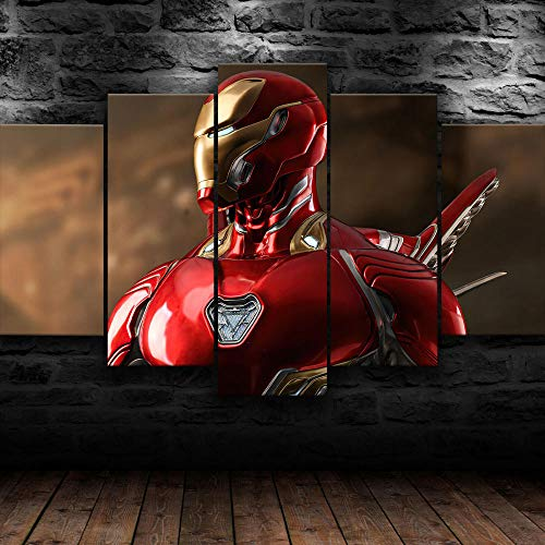 Cuadro Sobre Lienzo 5 Piezas Impresión En Lienzo Ancho: 150Cm, Altura: 100Cm Listo Para Colgar-Vengadores Iron Man Película En Un Marco
