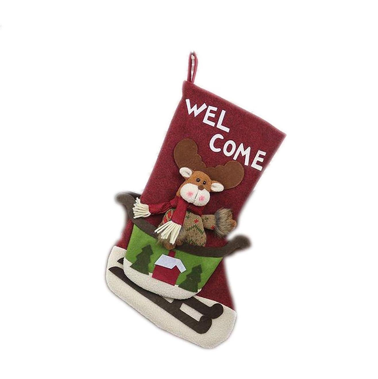 未満死の顎はっきりしないハンギングデコレーション ソックス ギフト袋 クリスマスツリー飾り サンタクロース 雪だるま エルク 可愛い ストッキング (エルク, OneSize)