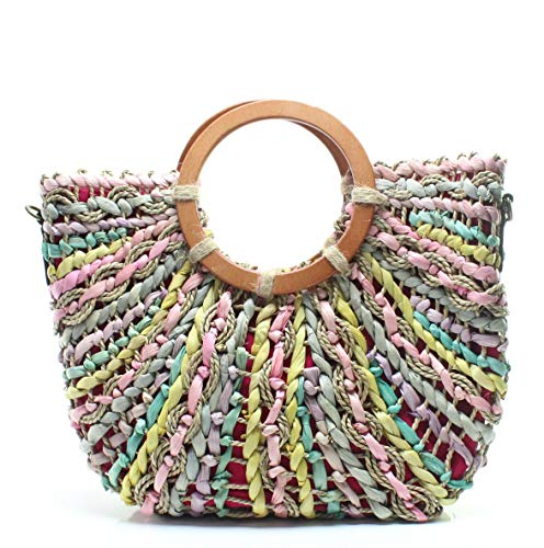 Liven' up your style with the bold and fun Patricia Nash™ Straw Lesa Tote. Made of woven straw with leather beet trim. Magnetic snap closure. Dual circular handles with detachable, adjustable crossbody strap. Flat bottom.  Lined interior.  Interior z...
