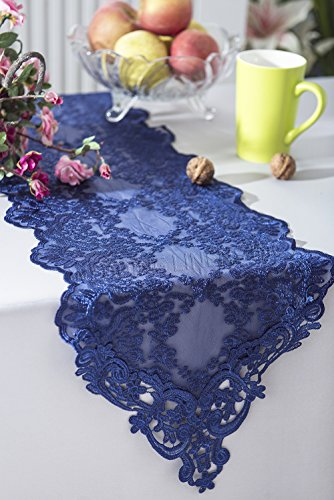 """Wedding Linens Inc. 13"""" x 108"""" Lace Floral Corded Table Runner Embroidered Table Runners for Wedding Decoration Events Banquet Party Supplies - Navy Blue"""