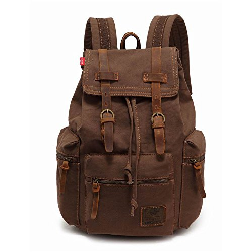 """High Capacity Canvas Vintage Backpack - for School Hiking Travel 12-17"""" Laptop"""