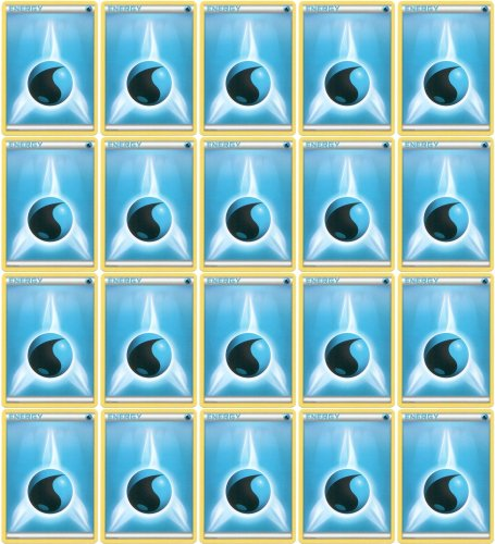 20 Basic Water Energy Pokemon Cards (XY/Black and White Series Design, Unnumbered) [Blue-Type]