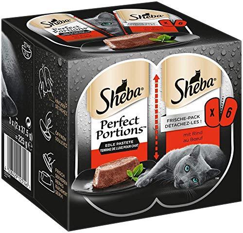 Sheba Katzenfutter Nassfutter Perfect Portions, Edle Pastete mit Rind im praktischen Frischepack, 24 Doppelschalen (8 x 3 x 75g), 1800 g