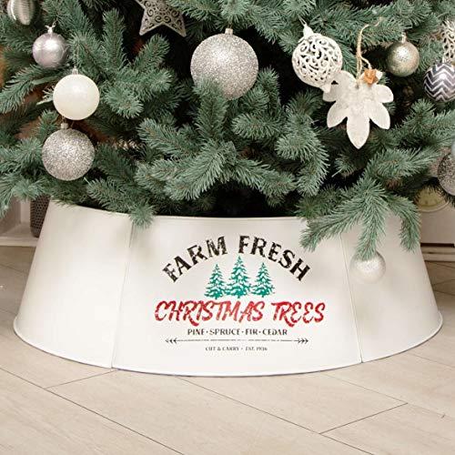 Hallops Galvanized Tree Collar - Large to Small Christmas Tree. Adjustable Metal Skirt, Christmas Decor - White