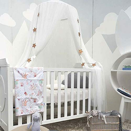 Bed Canopy for Girls - Princess Bed Canopy Mosquito Net Nursery Play Room Decor Dome Premium Yarn Netting Curtains Baby Game Dream Castle, White