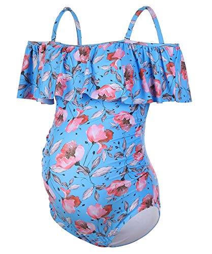 DINIGOFIN Einteiliger Schwangerschafts-Badeanzug für Damen, Übergröße, Umstandsmode, mit Rüschen - Blau - 1x