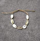 HJ Gargantilla para mujer, joyería de concha, cadena de mano, collar de cuerda beige, collar de mano, diseño: pulseras de oro para niñas adolescentes