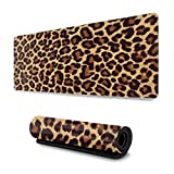 Cool Cheetah Leopard Gaming Mouse Pad XL, Extended Large Mouse Mat Desk Pad, Stitched Edges Mousepad, Long Non-Slip Rubber Base Mice Pad, 31.5 X 11.8 Inch