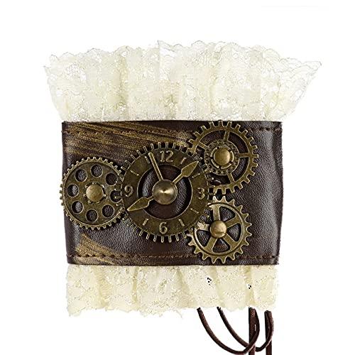 Tatoonly Pulsera de encaje retro de vestir pulsera estilo gótico reloj de decoración de engranajes reloj de vestir pulsera