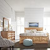 Home Styles Country Lodge King Bed, Night Stand, Chest, with Dresser & Mirror, Natural Wood Honey Pine Finish