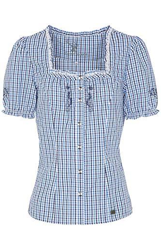 Spieth & Wensky Damen Trachtenbluse mit Stickerei kariert blau, BLAU, 40