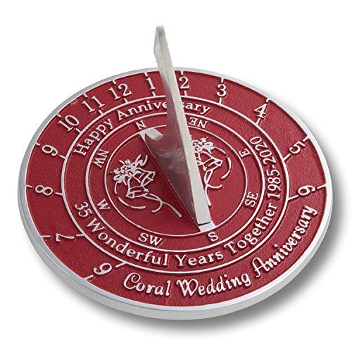 The Metal Foundry 35º aniversario de boda coral idea regalo es un gran regalo para él, para ella o para una pareja para celebrar 35 años de matrimonio, Aluminio, rosso, 2020 Anniversary Year