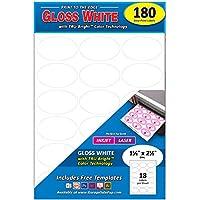 永久印刷の楕円形ラベル、レーザー/インクジェット、1.5 x 2.5インチ、光沢ホワイト。 180 Pack