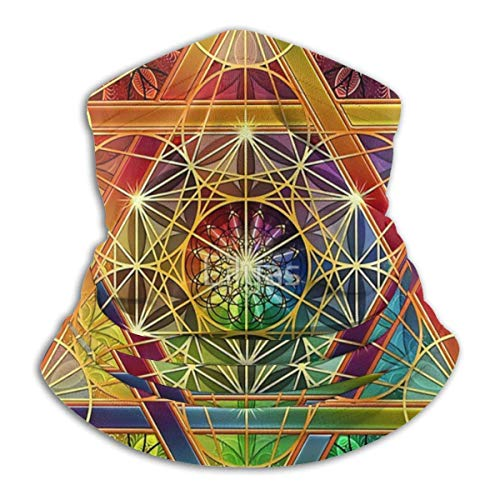 IZOU Metatron's Cube With Merkabah And Flower Of Life Neck Gaiter Face Mask,Multifunction for Man Women seasons Magic Scarf Bandana Balaclava