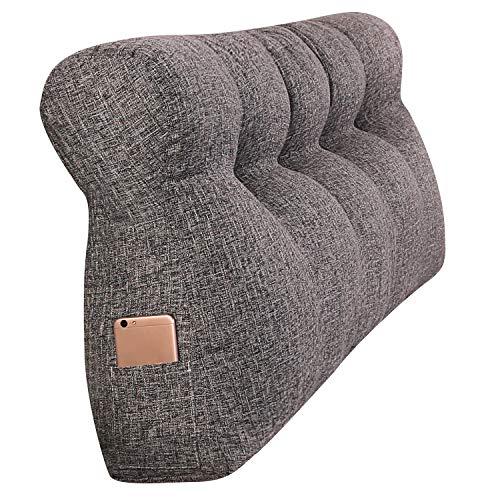VERCART Grosse Kopfteil Kissen Gepolstert BettUnterstützung Rückenkissen Nachttisch Rückenlehne Kopfstütze Fernsehkissen Leinen aus Baumwolle Grau 180x50x15cm