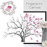 Cuadro DIY de VANCORE, árbol con hojas de huellas dactilares, regalo creativa y significativo, como libro de asistencia para bodas o cumpleaños, lienzo con tampón de tinta