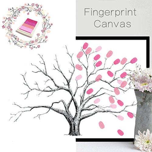 Vancore - Peinture d'arbre créative avec empreintes de doigts pour mariage, anniversaire, livre d'or - toile avec tampon encreur