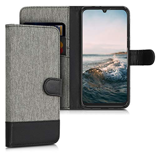 kwmobile Wallet Hülle kompatibel mit ZTE Blade V10 - Hülle Kunstleder mit Kartenfächern Stand in Grau Schwarz