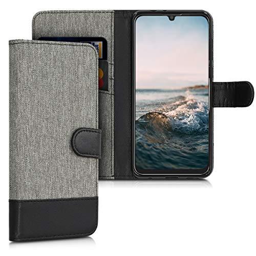 kwmobile Hülle kompatibel mit ZTE Blade V10 - Kunstleder Wallet Case mit Kartenfächern Stand in Grau Schwarz