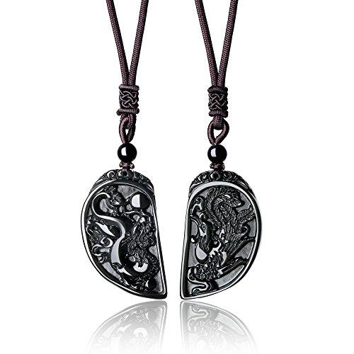 COAI Colgantes para la Pereja Dragón y Fénix de Obsidiana