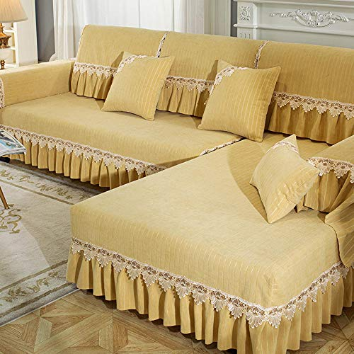 B/H Lavable/Antiácaros Funda de sofá,Cojín de sofá Antideslizante Simple, Funda de sofá Simple Universal-Yellow_70 * 90cm,Sillón Elastano Fundas de Sofá