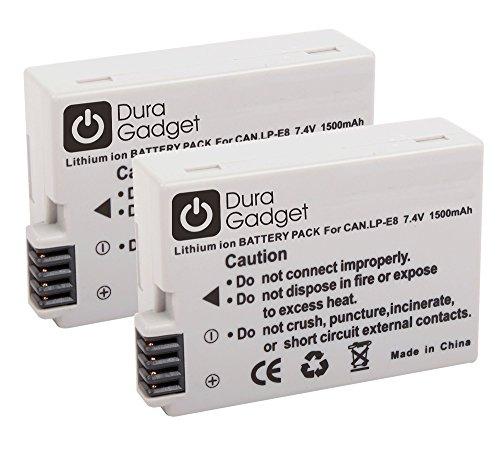 DURAGADGET Kit Doble, 2 x Batería LP-E8 7.4 V 1500 mAh de reemplazo para cámaras Canon EOS 550D / 600D / 650D / 700D / Canon Digital Rebel T2i / T3i / T4i / T5i EOS Kiss X4 / X5