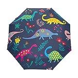 Paraguas de viaje compacto de dinosaurio colorido, para exteriores, lluvia, sol, coche, plegable, resistente al viento, toldo reforzado, protección UV, mango ergonómico, apertura y cierre automático