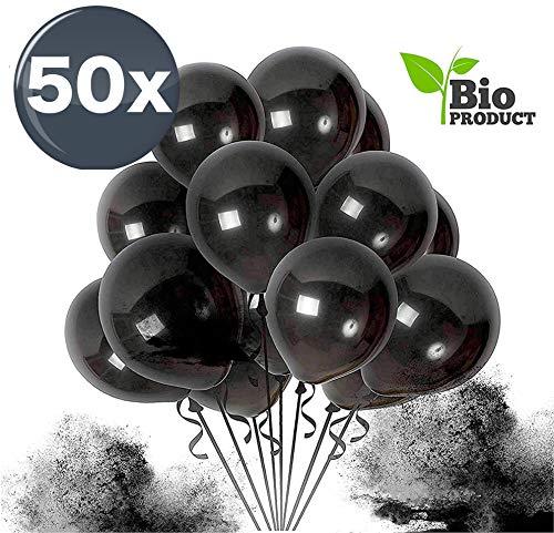 TK Gruppe Timo Klingler 50x Luftballons schwarz Ø 35 cm - Helium geeignet - Kein Plastik -100 % Bio & recyclebar - Deko Dekoration zur Befüllung mit Ballongas (schwarz)