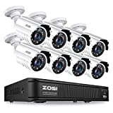 ZOSI 1080p H.265+ Home Security Camera System, 5MP Lite 8 Channel CCTV DVR Recorder with 8 x 1920TVL Security Camera Outdoor Indoor, 80ft Night Vision, Remote Access, Motion Detection (No Hard Drive)