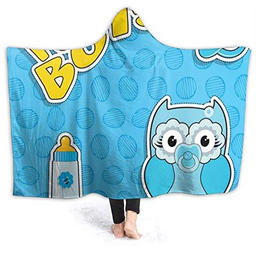 Manta con capucha de 50 x 40 pulgadas, diseño de búho de bebé con chupete y biberón, con tipografía, manta unisex