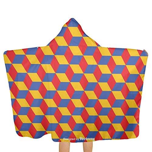 Nonebrand Strandtuch für Kinder, geometrisches Bauhaus-Muster, schnelltrocknend, mit Kapuze, Handtuch in Übergröße, für Reisen, Camping, Pool, Strandkörbe, 130 x 81 cm