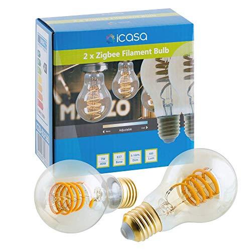 icasa - Juego de 2 bombillas LED con filamento en espiral, 60 mm, luz blanca ajustable, 1800 K - 4000 K, E27, 7 W, compatible con Zigbee 3.0 Gateway