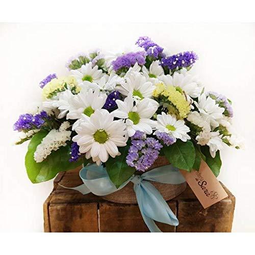 REGALAUNAFLOR-Centro de flores margaritas y siemprevivas-FLORES NATURALES-ENTREGA EN 24 HORAS DE MARTES...