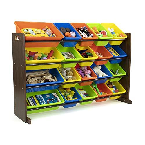 Humble Crew Kids Toy Storage Organizer, Dark Walnut/Neon Multi