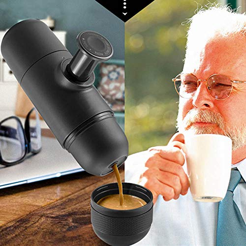 51hdEUVWEmL. SS500  - SUREH Portable Mini Espresso Maker Hand Held Pressure Manual Coffee Machine Extra Small Outdoor Travel Coffee Maker for…