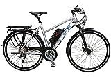 SAXXX Trekking S E-Bike Pedelec 11 Ah/396 Wh Lithium-Ionen Akku mit Samsung-Zellen Hinterradmotor Shimano 27-Gang Kettenschaltung Rapidfire Federgabel hydraulische Scheibenbremse silber