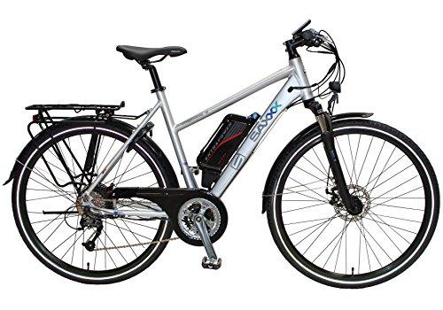 SAXXX Trekking S E-Bike Pedelec 11 Ah/396 Wh lithium-ion batterij met Samsung-cellen achterwielmotor Shimano 27 versnellingen derailleur Rapidfire verende voorvork hydraulische schijfrem zilver