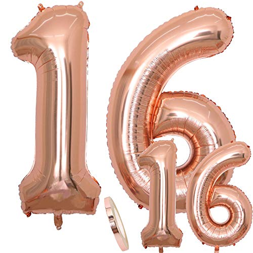 cholinchin Luftballons Zahl 16 Geburtstag XXL Rose Gold - Riesen Folienballon in 2 Größen 40