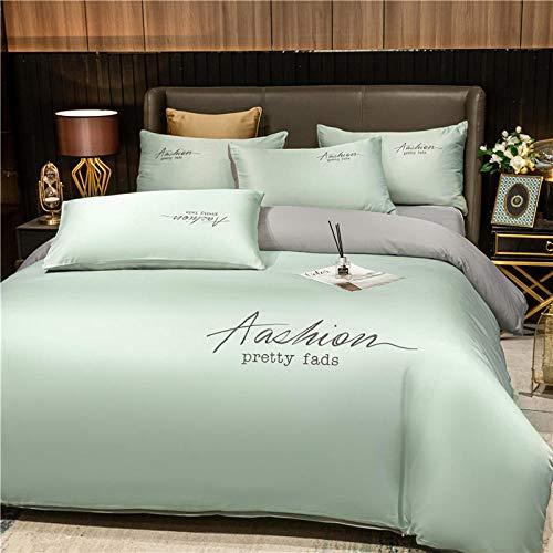 Bedding-LZ Funda de edredón para Cama Individual,Lavado y Hielo Seda Sleep Sleep Sleep Capado de Cuatro Piezas-GRAMO_1,5 m la Cama (4 Piezas)