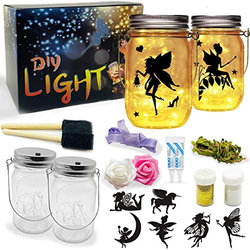 Fairy Lantern Craft Kits, 2 Glass Jar Lantern for Kids with String Lights, DIY Bedroom Night Light Decor, Educational Birthday Toys Gift for Girls/Boys.