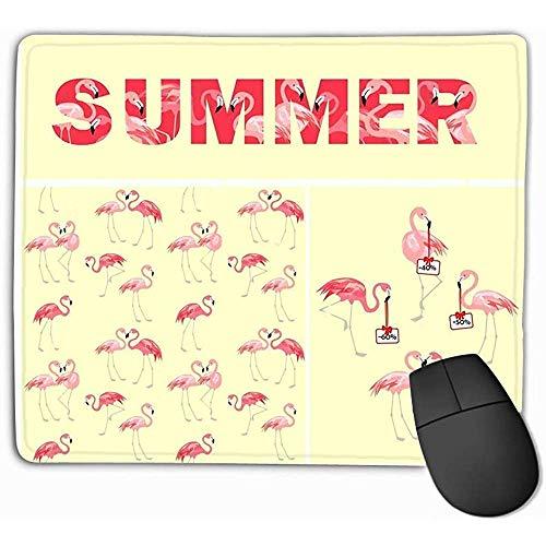 Black Anti-Slip Comfort Mouse Pad Mat, Muismat Geel Behang Print Zomer Lettering Aanbod Leuke Roze Mooie Flamingo Geel Behang Print Rechthoek Rubber Mousepad 25X30Cm