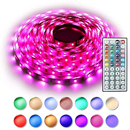 RaThun LED Strip Lights 32.8ft 5050 RGB 300 LEDs Color Changing LED Lights for Home, Kitchen, Room, Bedroom, Dorm Room, Bar, with IR Remote Control, DIY Mode
