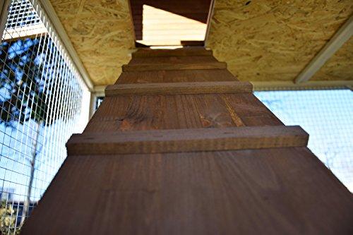dobar 23033FSC Großer dekorativer Hühnerstall oder Kleintierstall XL mit Freigehege, Pflanzkasten und Legebox, 126 x 128 x 143 cm, weiß-braun-schwarz - 12